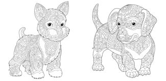 Free Coloring Pages With Cute Dogs Royalty Free Stock Images - 182957569