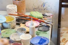Coloring and painting utensils royalty free stock photos