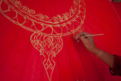 Coloring paints umbrella made of paper / fabric. Arts and Stock Photo