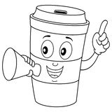 Coloring Paper Coffee Cup and Megaphone Royalty Free Stock Image