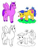 Coloring pegasus and unicorn vector. Coloring cute pegasus and unicorn vector illustration Royalty Free Stock Photo