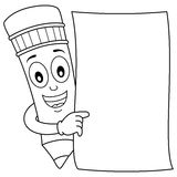 Coloring Pencil Character & Blank Paper. Coloring illustration for kids: a funny cartoon pencil character holding a blank paper, isolated on white background Stock Illustration