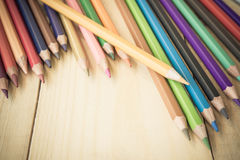 Coloring Pencil Different From The Crowd Stepping Up Stock Photography