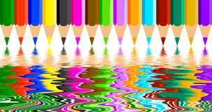Coloring pencil reflections Royalty Free Stock Photos