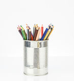 Coloring pencil in tin can Stock Photos