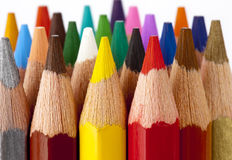 Coloring pencils. Group of different coloring pencils with white background Stock Photos