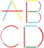 Coloring Pencils Alphabet Letters Set A-D. Isolated On White stock image