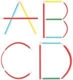Coloring Pencils Alphabet Letters Set A-D Stock Image