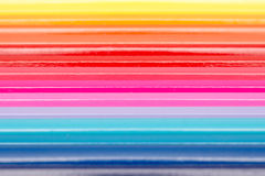 Coloring Pencils Arranged In Rainbow Line Stock Image