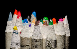 Coloring pencils on black. Image of many pencil crayons on black royalty free stock image