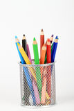 Coloring pencils in holder Royalty Free Stock Images