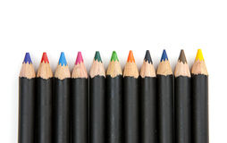 Coloring pencils lined up. Royalty Free Stock Photography