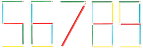 Coloring Pencils Numbers 5-9 Stock Photos