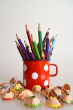 Coloring pencils. In old mug Royalty Free Stock Photos