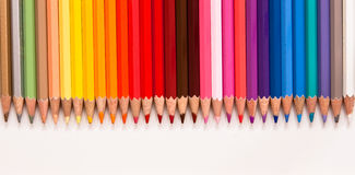 Coloring pencils in a row Royalty Free Stock Photos