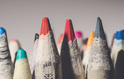 Coloring pencils on white stock photography