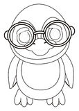 Coloring penduin in glasses stand. Coloring cute penguin in round glasses standing and watching royalty free illustration