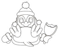 Coloring penguin in hat hold an ice cream. Coloring penguin in gloves and hat hold a bitten ice cream in her wings royalty free illustration