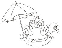 Coloring penguin with umbrella Royalty Free Stock Photo