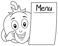Coloring Pepper Character with Blank Menu. Coloring illustration for kids: a happy cartoon pepper character with a blank menu, isolated on white background. Eps Stock Photo