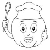 Coloring Pepper Character with Chef Hat. Coloring illustration for kids: a happy cartoon pepper character with thumbs up and holding a wooden spoon, isolated on Stock Images