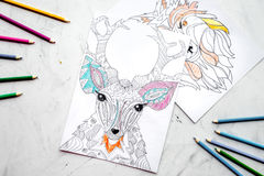 Coloring picture for adults on stone background top view Royalty Free Stock Image