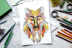 Coloring picture for adults on stone background top view royalty free stock images