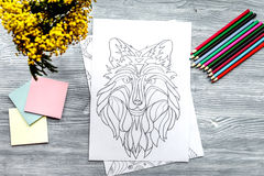 Coloring picture for adults on wooden background top view Royalty Free Stock Image