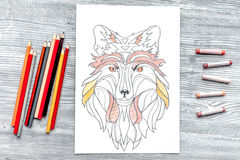 Coloring picture for adults on wooden background top view Stock Images