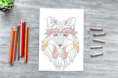 Coloring picture for adults on wooden background top view Stock Photography