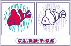 Parrot Fish Coloring. A coloring picture with a fish - a parrot. Character for destkogo creativity. Black-and-white drawing from lines for coloring by paints. On Stock Photos