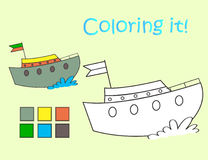 Coloring picture fun boat Stock Images