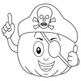 Coloring Pirate Pumpkin with Eye Patch Hat. Coloring illustration for kids: a happy cartoon pumpkin character with thumbs up, pirate eye patch and a skull hat Stock Photo