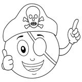 Coloring Pirate Smiley with Eye Patch & Hat. Coloring illustration for kids: a happy cartoon smiley emoticon character with thumbs up, pirate eye patch and a Royalty Free Stock Photo