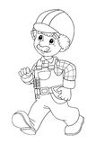 The coloring plate - construction worker - illustration for the children Royalty Free Stock Image