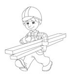 The coloring plate - construction worker - illustration for the children Stock Images
