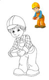 The coloring plate - construction worker - illustration for the children Stock Photos
