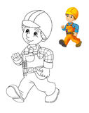 The coloring plate - construction worker - illustration for the children Royalty Free Stock Photos