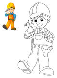 The coloring plate - construction worker - illustration for the children with preview Stock Images