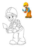 The coloring plate - construction worker - illustration for the children with preview Royalty Free Stock Photo