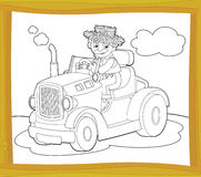 The coloring plate - farm vehicle - illustration for the children Royalty Free Stock Photos