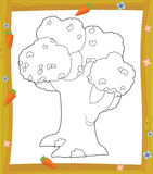 The coloring plate - tree - illustration for the children Royalty Free Stock Photography