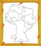 The coloring plate - tree - illustration for the children Stock Photos