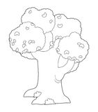 The coloring plate - tree - illustration for the children Royalty Free Stock Photos