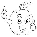 Coloring Plum Character with Thumbs Up Stock Photo