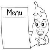 Coloring Pod of Peas Character with Menu Royalty Free Stock Photo