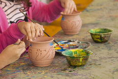 Coloring a Pottery Vase Royalty Free Stock Photography