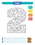 Coloring printable worksheet for kindergarten and preschool. Learning numbers and simple shapes. royalty free illustration