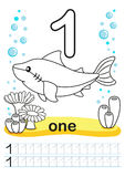 Coloring printable worksheet for kindergarten and preschool. We train to write numbers. Math exercises. Bright figures on a marine. Coloring Printable worksheet Stock Images