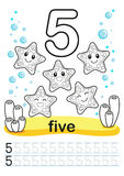 Coloring printable worksheet for kindergarten and preschool. We train to write numbers. Math exercises. Bright figures on a marine. Coloring printable worksheet Royalty Free Stock Image